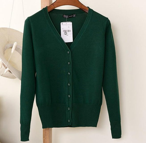 Long Sleeve Loose Buttons V-Neck Knitted Cardigan-Dee SuSu-Dark green-S-Dee SuSu