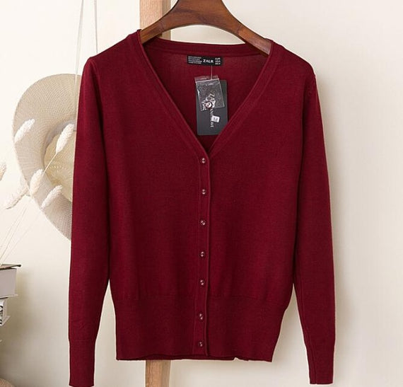 Long Sleeve Loose Buttons V-Neck Knitted Cardigan-Dee SuSu-wine red-S-Dee SuSu