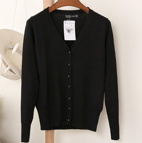 Long Sleeve Loose Buttons V-Neck Knitted Cardigan-Dee SuSu-BLACK-S-Dee SuSu