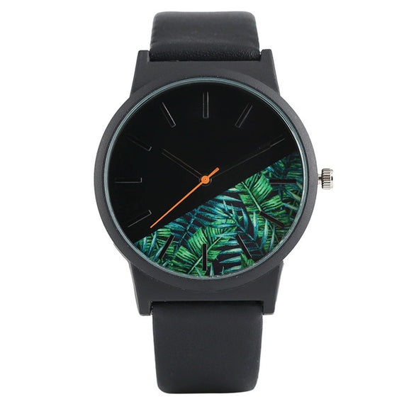 Unisex Tropical Jungle Design Quartz Wristwatch-Dee SuSu-Black-China-Dee SuSu