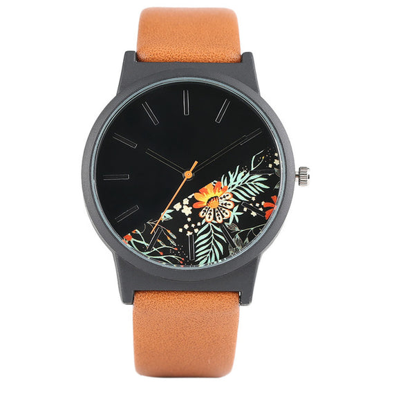 Unisex Tropical Jungle Design Quartz Wristwatch-Dee SuSu-Brown-China-Dee SuSu