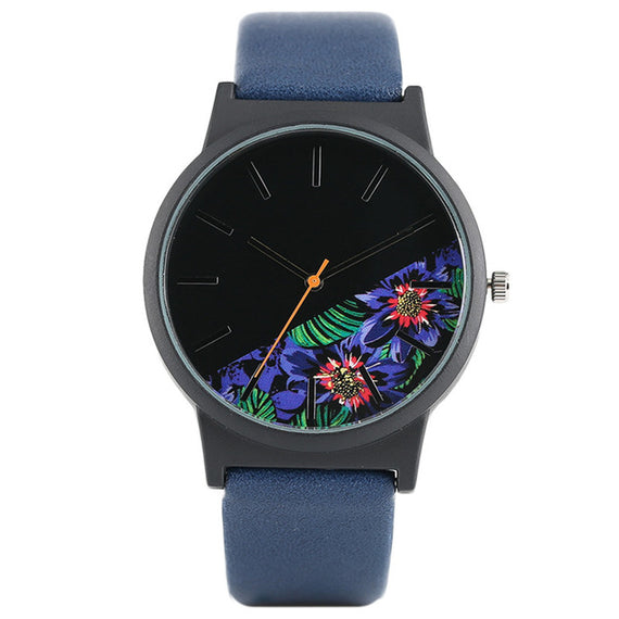 Unisex Tropical Jungle Design Quartz Wristwatch-Dee SuSu-Dark Blue-China-Dee SuSu