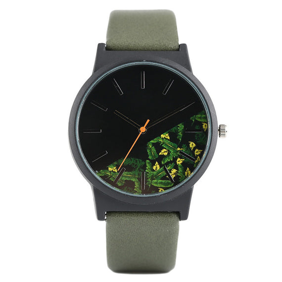 Unisex Tropical Jungle Design Quartz Wristwatch-Dee SuSu-Army Green-China-Dee SuSu