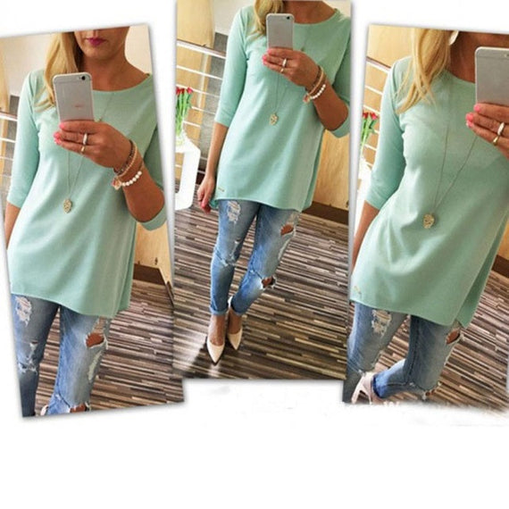Bright 3/4 Sleeve Top-Dee SuSu-Blue-L-Dee SuSu