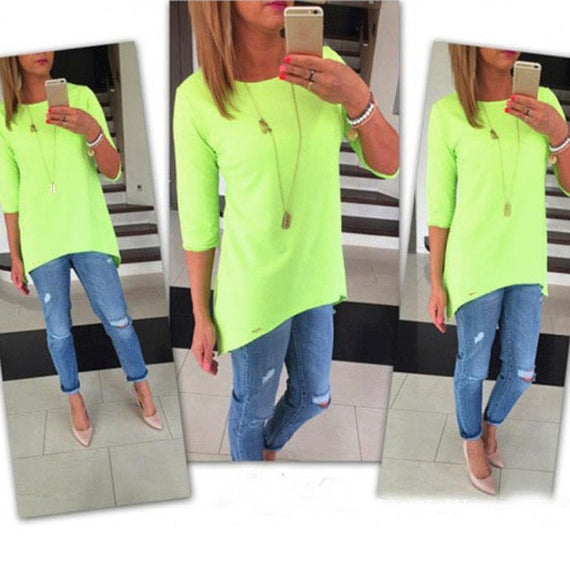 Bright 3/4 Sleeve Top-Dee SuSu-Green-L-Dee SuSu