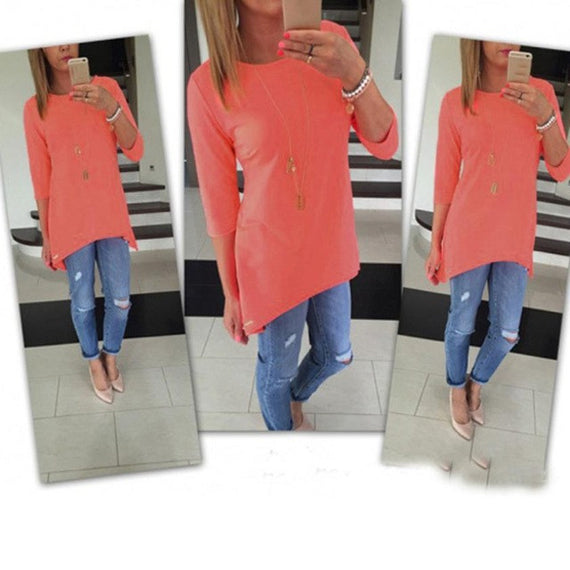 Bright 3/4 Sleeve Top-Dee SuSu-Orange-L-Dee SuSu