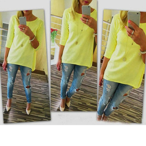 Bright 3/4 Sleeve Top-Dee SuSu-Yellow-L-Dee SuSu