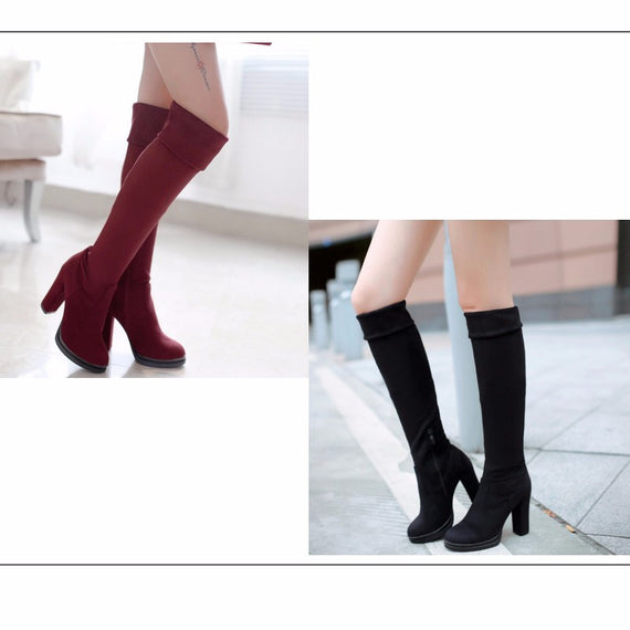 Winter Over Knee High Heel Boots-Dee SuSu-Dee SuSu