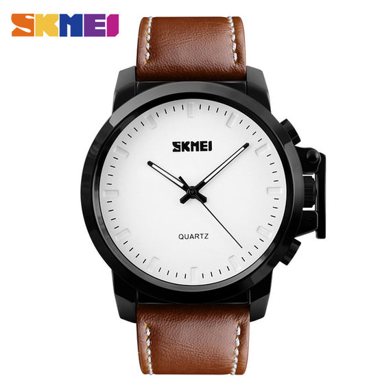 Men's Quartz Watch with Waterproof-Dee SuSu-WHITE BROWN BELT PU-Dee SuSu