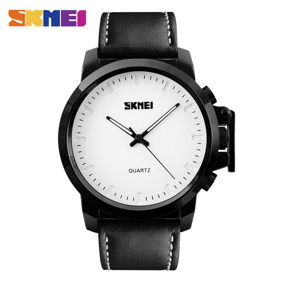 Men's Quartz Watch with Waterproof-Dee SuSu-WHITE BLACK BELT PU-Dee SuSu