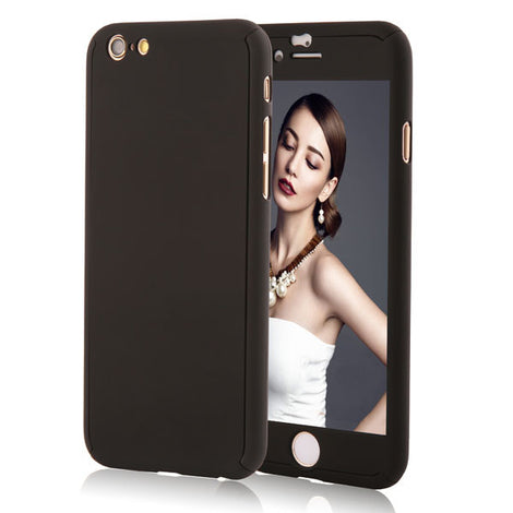 Full Body Coque Phone Cases for iPhone 5 5s SE 6 6S 7 Plus Free Clear Screen Film-Dee SuSu-Black-For I6 Plus 6s Plus-Dee SuSu
