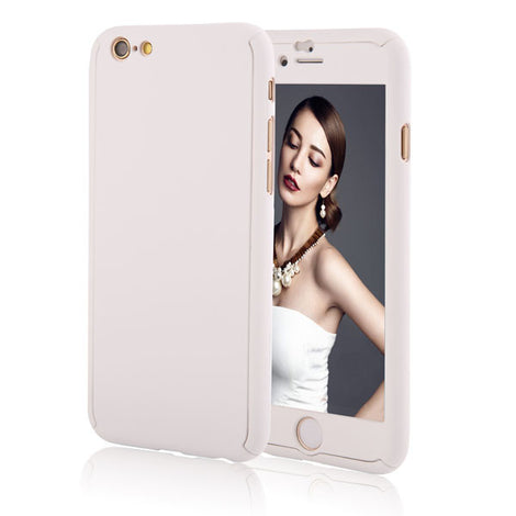 Full Body Coque Phone Cases for iPhone 5 5s SE 6 6S 7 Plus Free Clear Screen Film-Dee SuSu-White-For I6 Plus 6s Plus-Dee SuSu