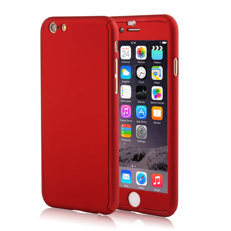 Full Body Coque Phone Cases for iPhone 5 5s SE 6 6S 7 Plus Free Clear Screen Film-Dee SuSu-Red-For I6 Plus 6s Plus-Dee SuSu