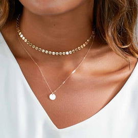 Gold Coin Layered Necklace Set With Charm Choker-Dee SuSu-Dee SuSu