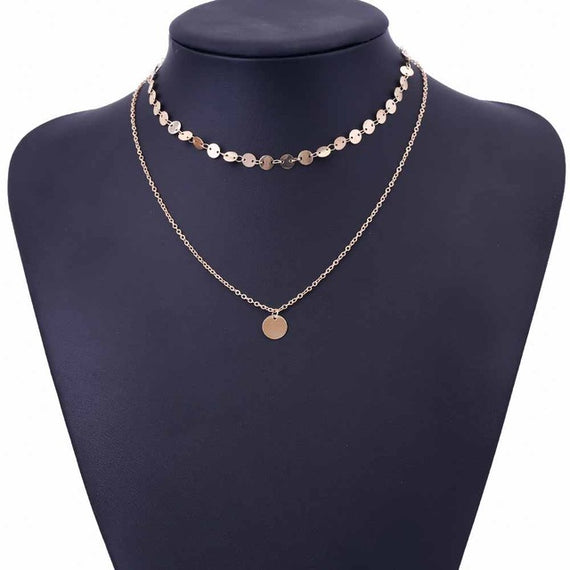 Gold Coin Layered Necklace Set With Charm Choker-Dee SuSu-Gold-color-Dee SuSu