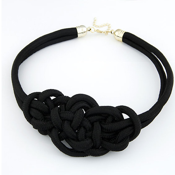 Knot Statement Necklace-Dee SuSu-Black-50cm-Dee SuSu