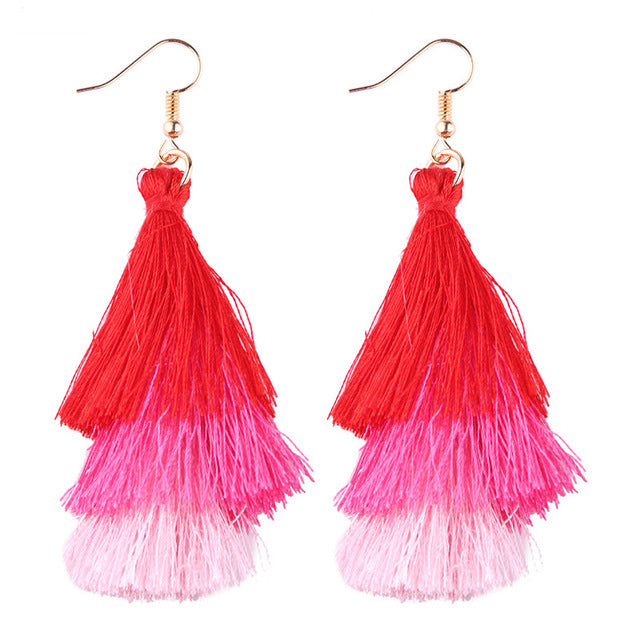 Fringed Tassel Statement Earrings-Dee SuSu-red-pink-blush-Dee SuSu