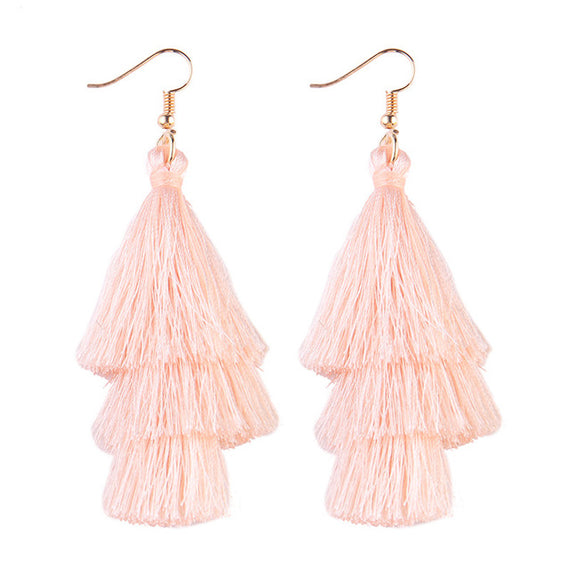 Fringed Tassel Statement Earrings-Dee SuSu-blush-Dee SuSu