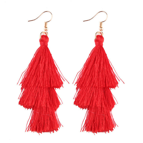 Fringed Tassel Statement Earrings-Dee SuSu-red-Dee SuSu
