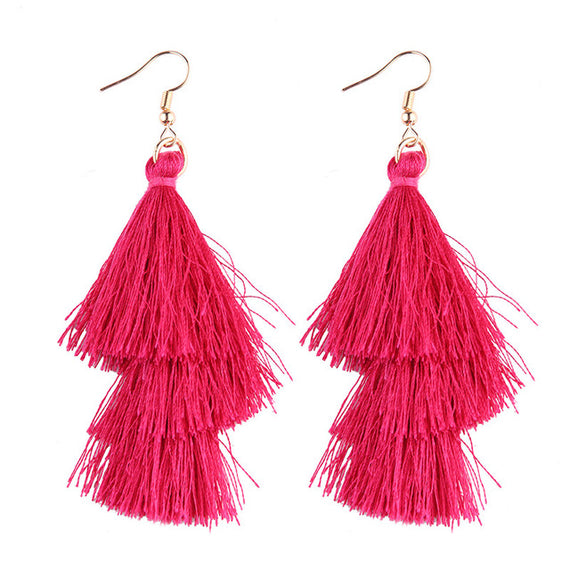 Fringed Tassel Statement Earrings-Dee SuSu-pink-Dee SuSu