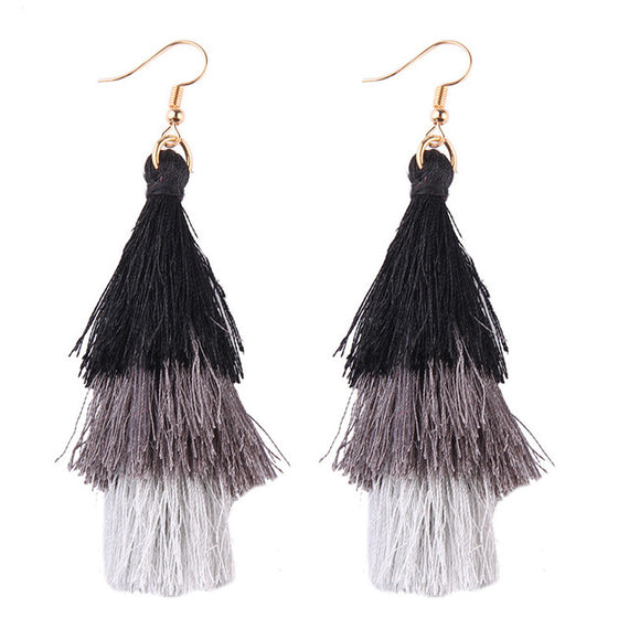 Fringed Tassel Statement Earrings-Dee SuSu-black-gray-white-Dee SuSu