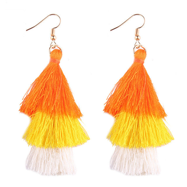 Fringed Tassel Statement Earrings-Dee SuSu-orange-yellow-white-Dee SuSu