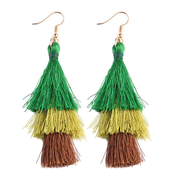 Fringed Tassel Statement Earrings-Dee SuSu-forest green-gold-brown-Dee SuSu