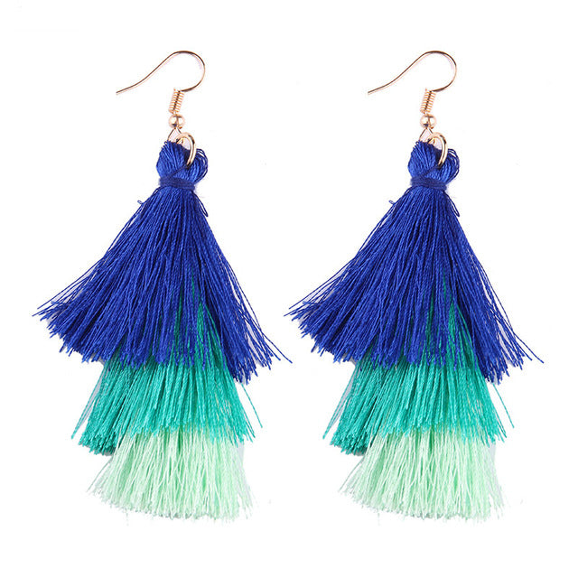Fringed Tassel Statement Earrings-Dee SuSu-royal blue-green-mint-Dee SuSu