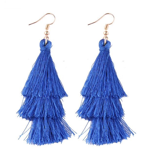 Fringed Tassel Statement Earrings-Dee SuSu-royal blue-Dee SuSu