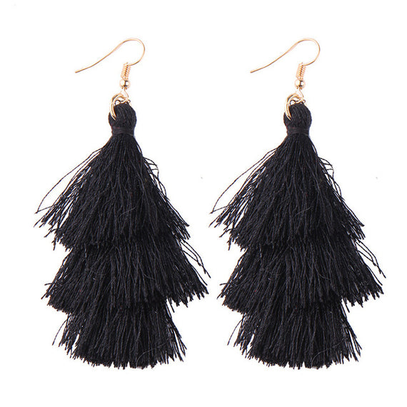 Fringed Tassel Statement Earrings-Dee SuSu-black-Dee SuSu