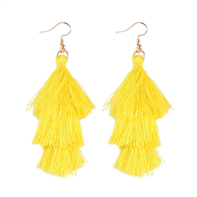 Fringed Tassel Statement Earrings-Dee SuSu-yellow-Dee SuSu