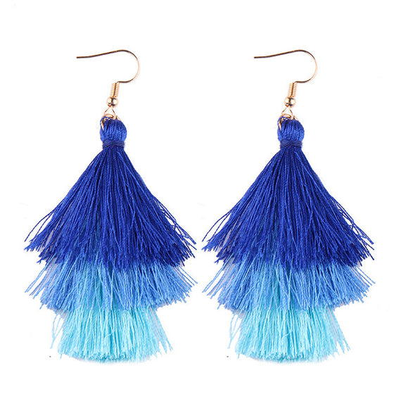 Fringed Tassel Statement Earrings-Dee SuSu-royal blue-blue-aqua-Dee SuSu