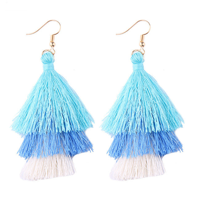 Fringed Tassel Statement Earrings-Dee SuSu-aqua-blue-white-Dee SuSu
