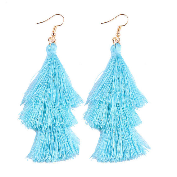 Fringed Tassel Statement Earrings-Dee SuSu-aqua-Dee SuSu