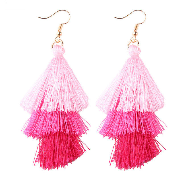 Fringed Tassel Statement Earrings-Dee SuSu-blush-pink-red-Dee SuSu