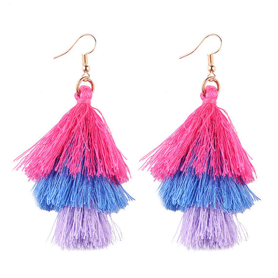 Fringed Tassel Statement Earrings-Dee SuSu-pink-blue-purple-Dee SuSu