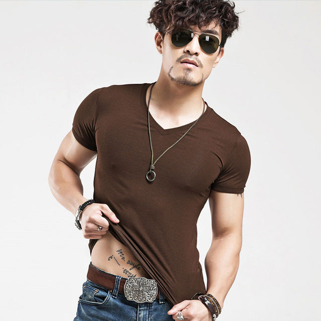 Breathable Slim Fit Casual elastic V-neck T-Shirt-Dee SuSu-V Coffee-L-Dee SuSu
