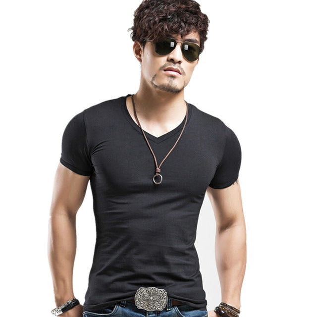 Breathable Slim Fit Casual elastic V-neck T-Shirt-Dee SuSu-V Black-L-Dee SuSu