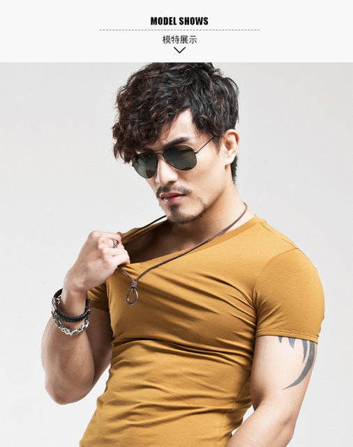 Breathable Slim Fit Casual elastic V-neck T-Shirt-Dee SuSu-V Brown-L-Dee SuSu