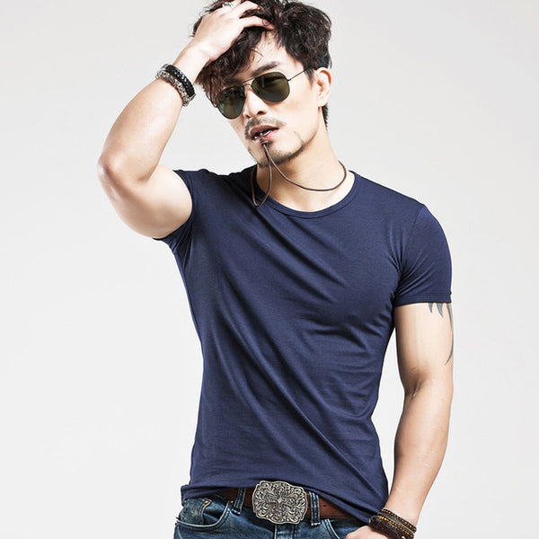 Breathable Slim Fit Casual elastic V-neck T-Shirt-Dee SuSu-O Navy-L-Dee SuSu