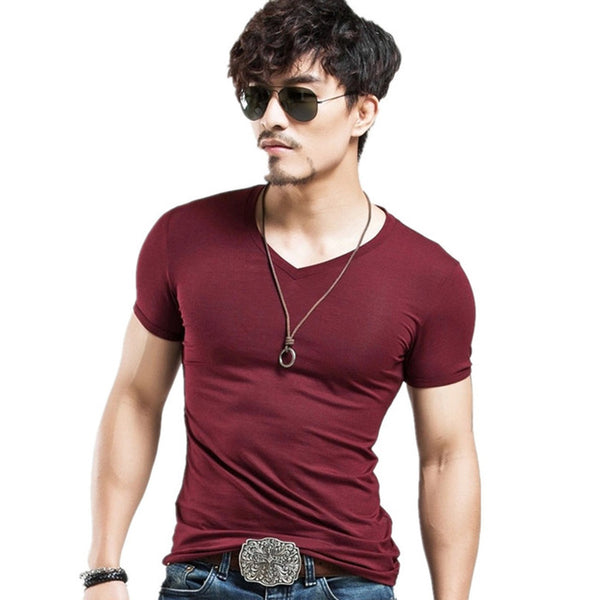 Breathable Slim Fit Casual elastic V-neck T-Shirt-Dee SuSu-V Wine Red-L-Dee SuSu