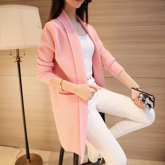 Menswear Inspired Sweater Coat-Dee SuSu-Thick Pink-S-Dee SuSu