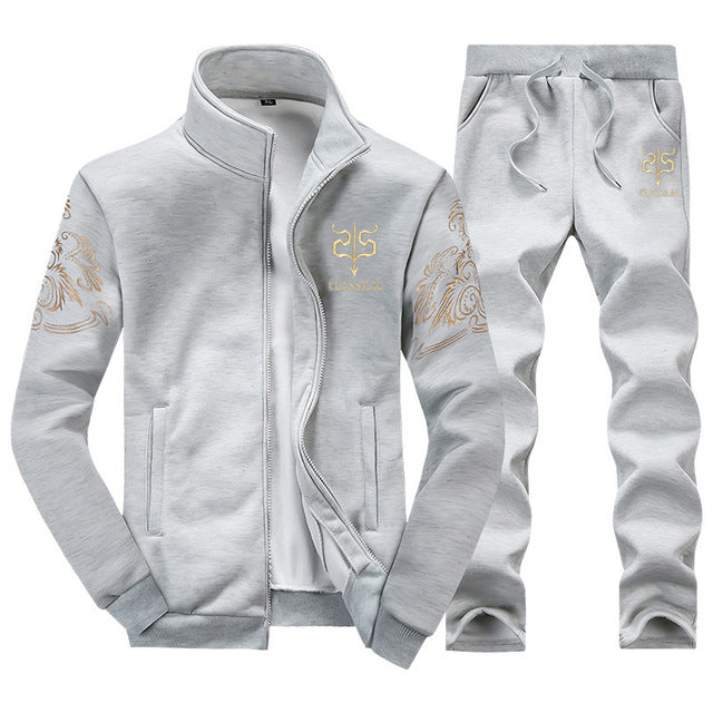 Casual Zipper Tracksuit Without Hoodie (Jacket+Pants)-Dee SuSu-Grey D38-S-Dee SuSu