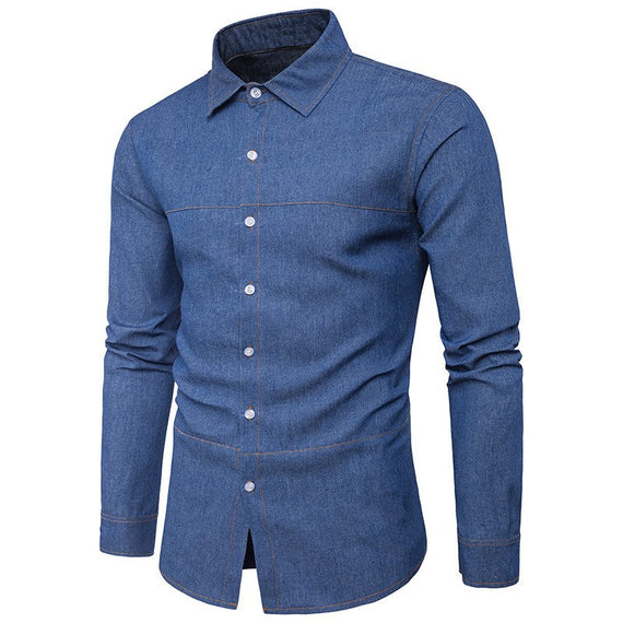 Casual Denim Button Down Long Sleeve Slim Fit Jeans shirt-Dee SuSu-Dee SuSu
