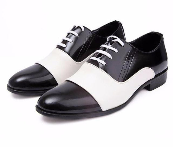 Pointed Toe Leather Dress Shoes For Men-Dee SuSu-white men shoes-6-Dee SuSu