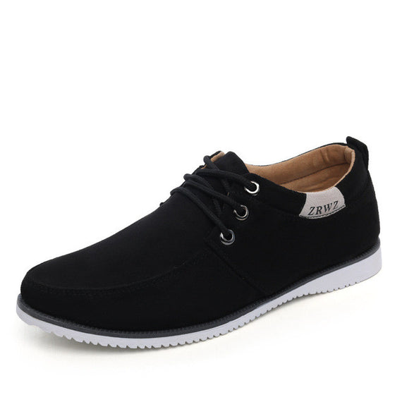Flat lace-up Comfortable Leather Suede-Dee SuSu-black-6.5-China-Dee SuSu