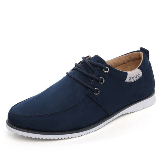 Flat lace-up Comfortable Leather Suede-Dee SuSu-blue-6.5-China-Dee SuSu