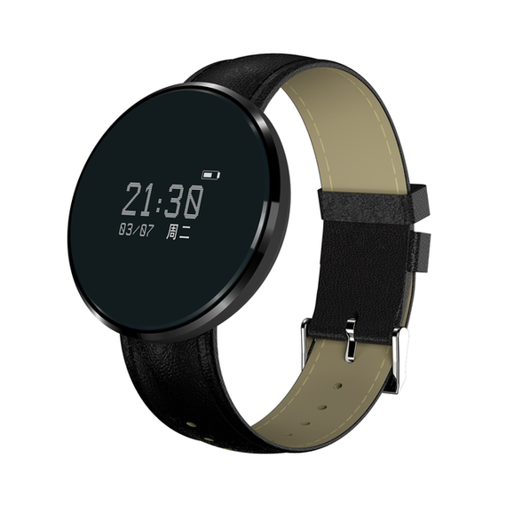Smart Wristwatch with Heart Rate Sleep Monitor for Smartphones-Dee SuSu-black leather-China-Dee SuSu