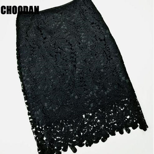 High Waist Lace Pencil Skirt-Dee SuSu-black-S-Dee SuSu