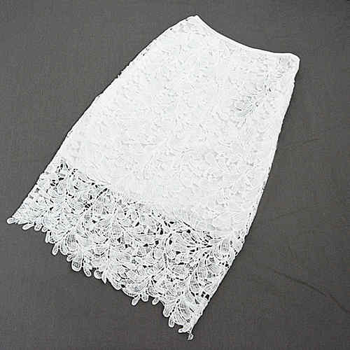 High Waist Lace Pencil Skirt-Dee SuSu-white-S-Dee SuSu